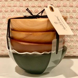 4 Wooden Bowls set Hearth & Hand Magnolia New